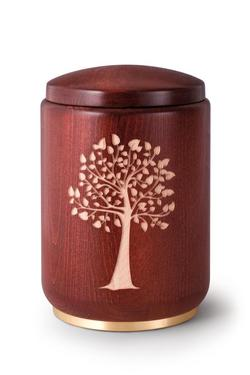 Wooden Urn (Stained Mahogany with Tree Engraving)